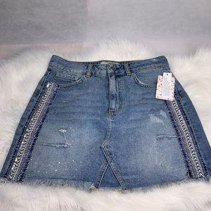 Free People Jean, beaded skirt